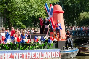 Holland boat during the 2016 Pride Parade in Amsterdam