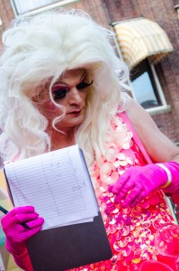 one of the judges at the 2016 Drag Queen Olympics celebrating Euro Pride in Amsterdam