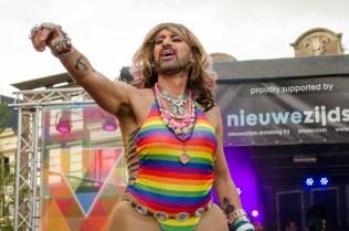 The inimitable Jennifer Hopelezz presiding over the 2016 Drag Queen Olympics celebrating Gay Pride in Amsterdam