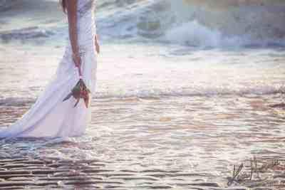 bride sunset beach