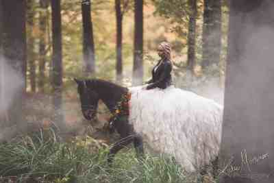 cherish the wedding dress on horseback