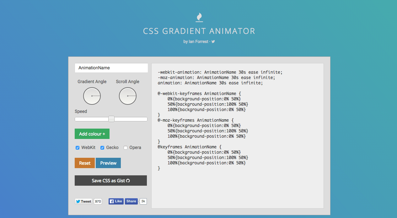 CSS Gradient Animator Screenshot