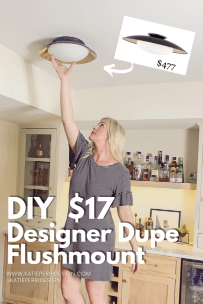 Katie Perri Design DIY $17 Black designer dupe flush mount light DIY
