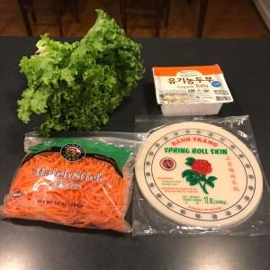 spring rolls ingredients: spring roll skins, organic tofu, match stick carrots, green leaf lettuce