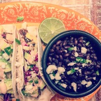 Blackened Swordfish Tacos with Jalapeño-Lime Slaw, Chipotle Crema and Avocado