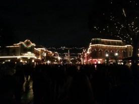 Main St. with Christmas lights.