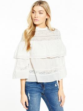 Miss Selfridge Lace Tiered Blouse