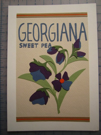 Finished product: Georgiana Sweet Peas!