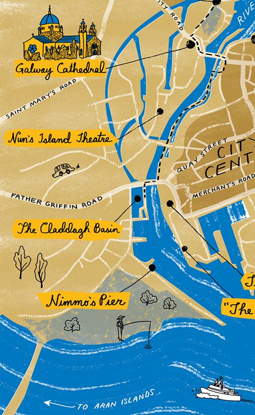 A close-up of a hand-drawn map showing a river and a few urban locales