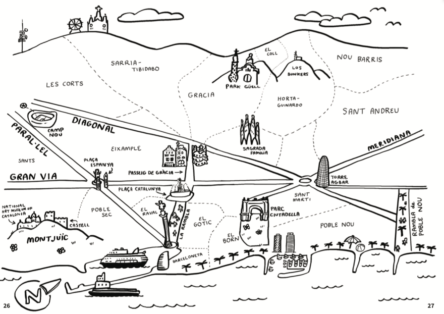 A hand-drawn map of Barcelona