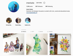 instagram user profile for interkatie, with a few images of paintings