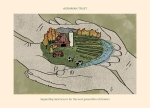 Two pairs of hands cupped around a plot of farmland with barn, cows, tractor and river