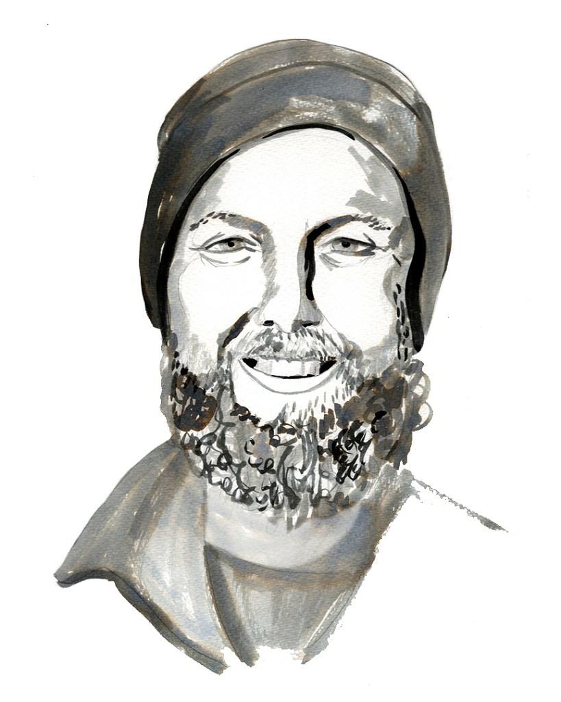 ink portrait of a man in a wool cap