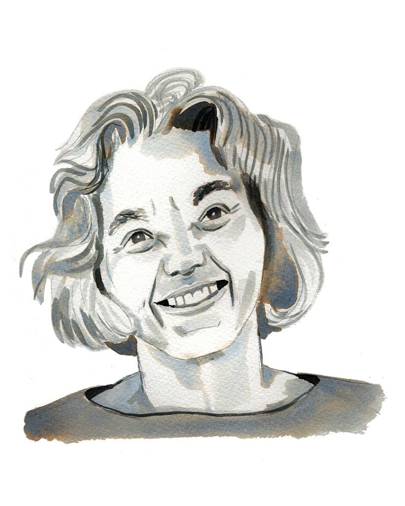 ink portrait of a smiling older woman