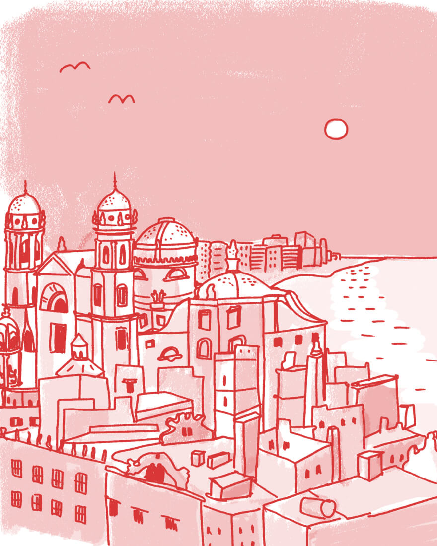 A cartoon image in tones of red showing a seaside town with old world architecture