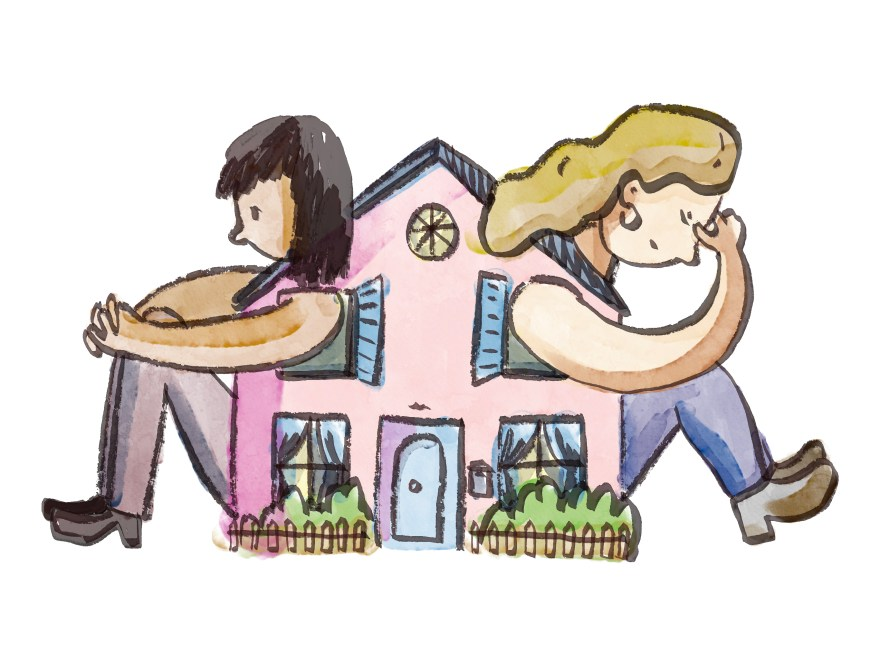 Two women seated with their backs to each other. Their bodies are inside of a large house, with arms and legs coming out of the windows of the house.
