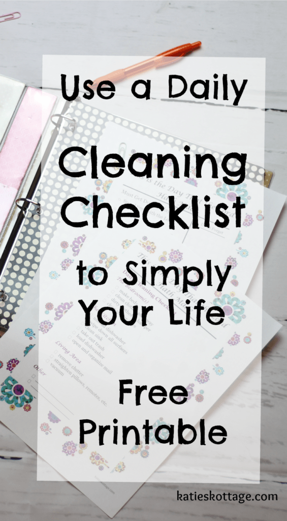 Daily cleaning checklist | free printable cleaning checklist