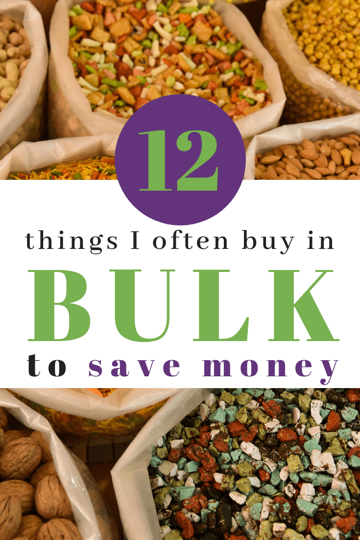 The 12 things I buy in bulk from Sam's Club to save money as a one income family. #buyinbulk #budgettips #savemoney #savingmoneytips