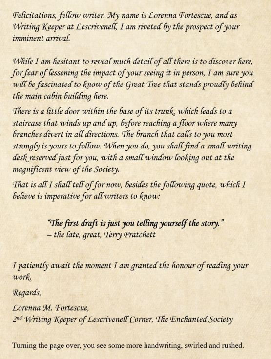 Lescrivenell welcome letter