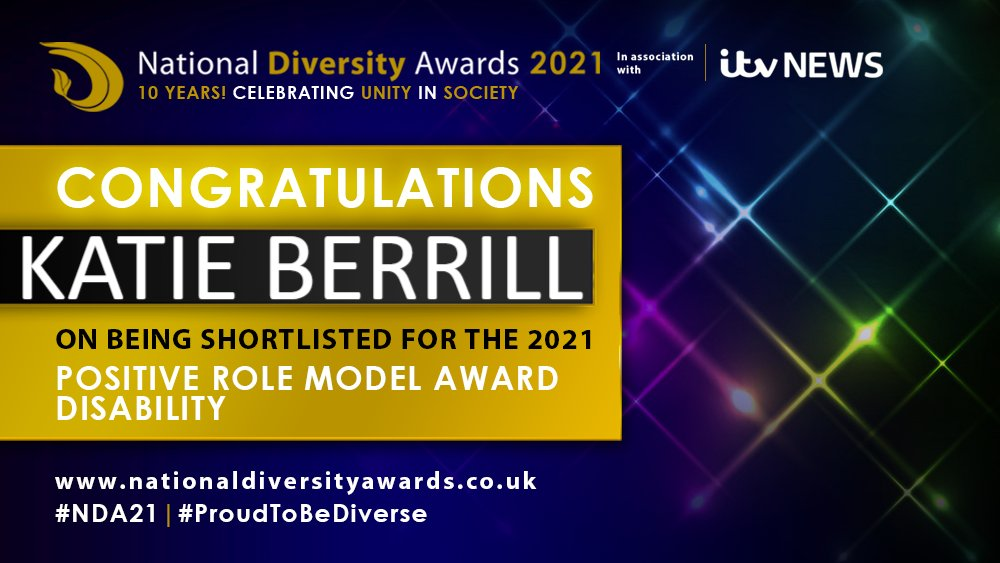 A picture of my national diversity awards shortlisted banner, with my name 'Katie Berrill' on it end the positive role model for disability award.
