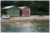 Boat sheds in Coles Bay. Even ordinary boat sheds look better in Tasmania.