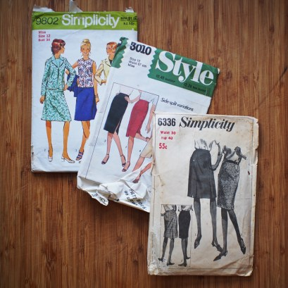 The black and white Simplicity pencil skirt is probably one of the oldest patterns I've found so far.