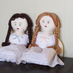 Here are the scandlously-clad dolls who have inspired my current project. I'm reasonably certain their names were Rosalie and Eleanor but I can't remember which was which.