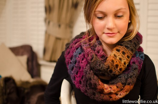 A crocheted infinity scarf.