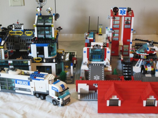 The LEGO City Police Station and Fire Station