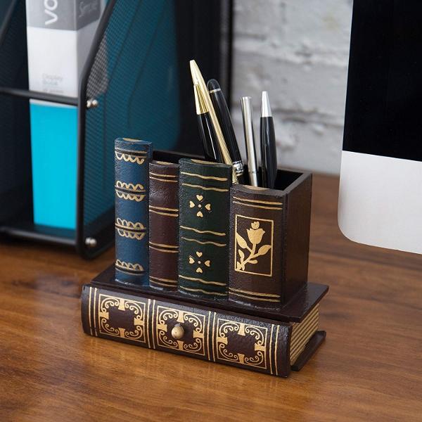 Decorative Library Books Desk Caddy