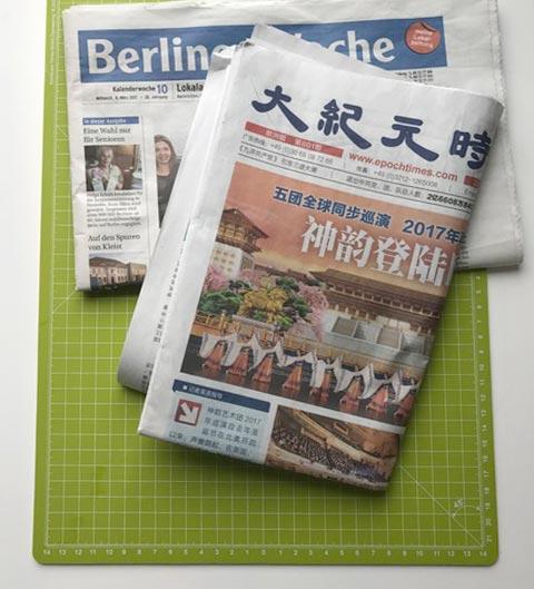 Für die Töpfe wird Zeitungspapier verwendet.