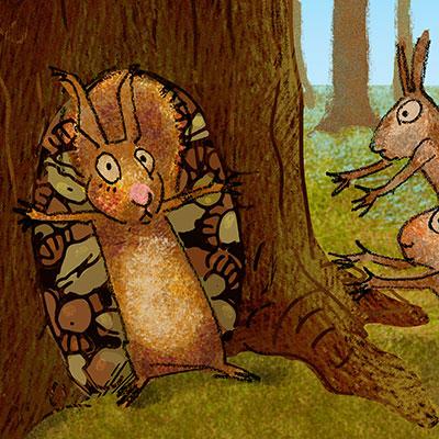 eekhoorn bewaakt zijn nootjes