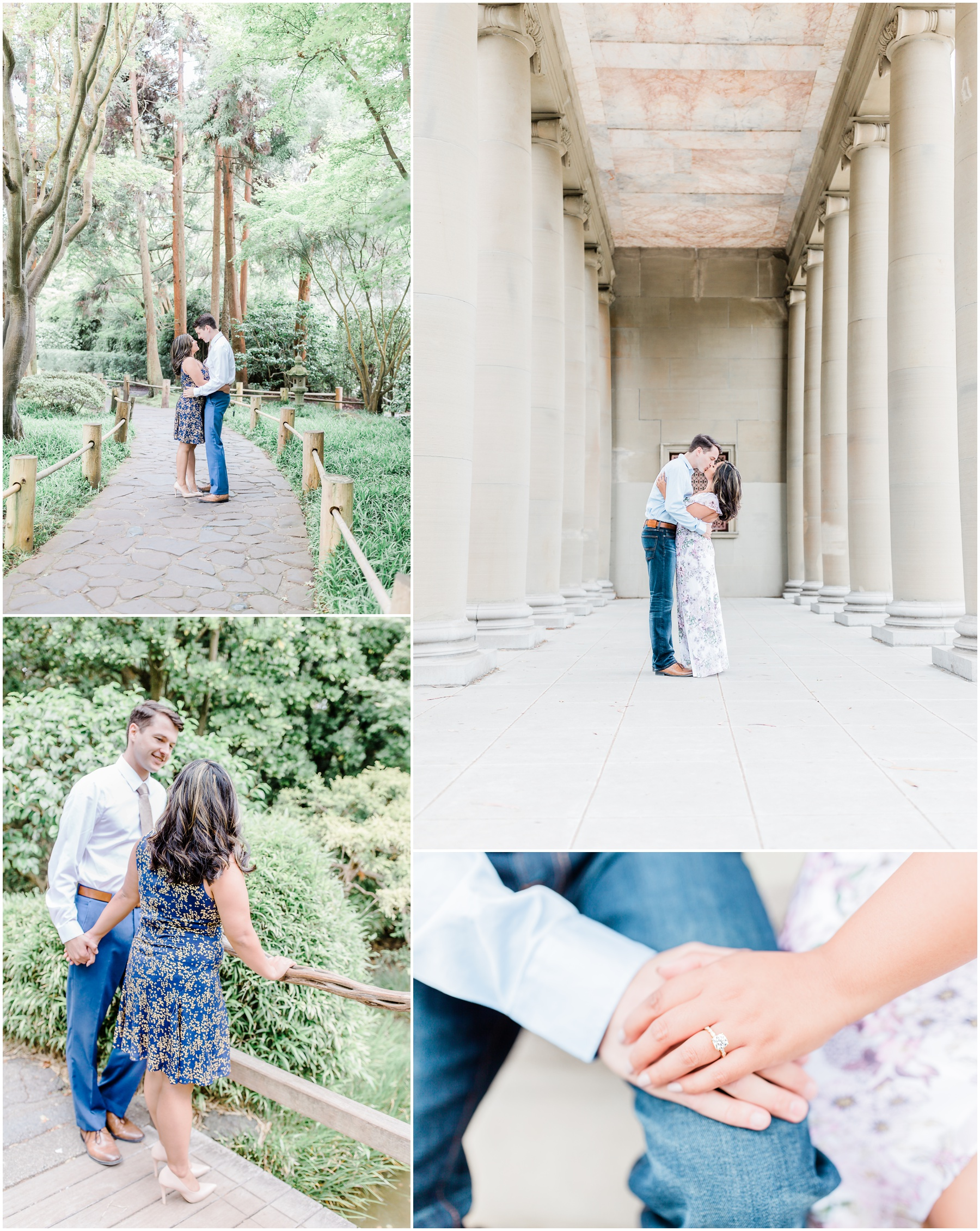 San Francisco Engagement Portrait Session by KCM Photography, a Portrait and Wedding Photographer based in Lodi, CA. The engaged couple are pictured standing amongst the greenery and architecture of Golden Gate Park and the Japanese Tea Garden.