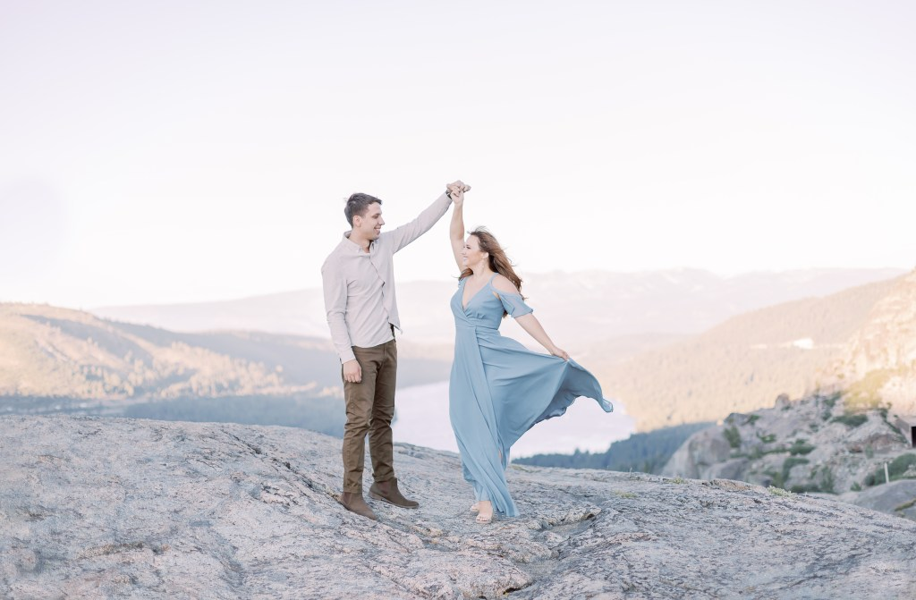 Engagement Photo at Donner Summit overlooking Donner Lake and Donner State Park by fine art portrait and wedding photographer Kat Murillo Photography