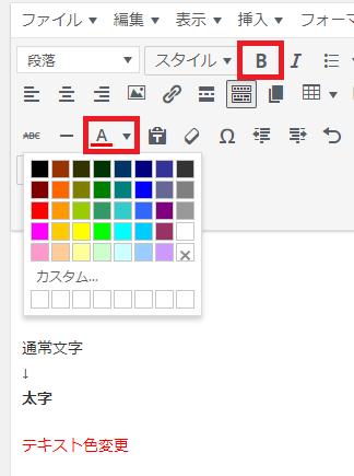 WordPressの記事投稿 太字・テキスト色