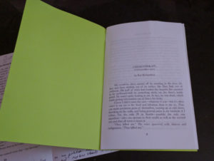 First page, interior of chapbook mock up with full, printed imposition.
