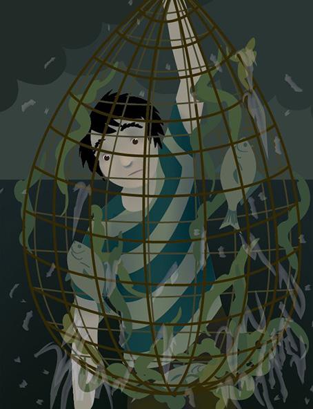 Illustrator Illustration. Page 6 of La Jolla's Mermaid.