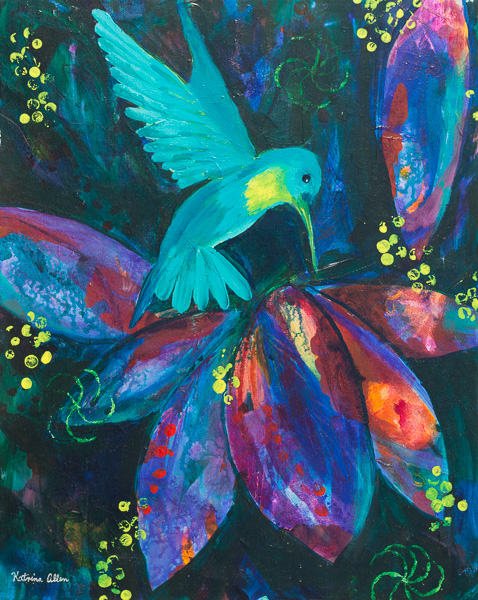 """Flashing Wings,"" an abstract acrylic painting of a hummingbird by Katrina Allen. Visit katrinaallenart.com to see more paintings and order prints."
