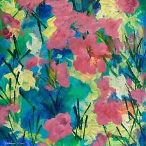"""""""The Color of Moments,"""" an abstract floral acrylic painting by Katrina Allen. Prints can be ordered at katrinaallenart.com."""