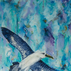 """At Peace with the Pace of Transformation,"" an abstract acrylic bird painting by Katrina Allen. Visit katrinaallenart.com to see more paintings and order prints."