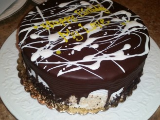 Hubby's surprise birthday cake. The top part was all hardened chocolate!!! (*GASP* INLOVE)
