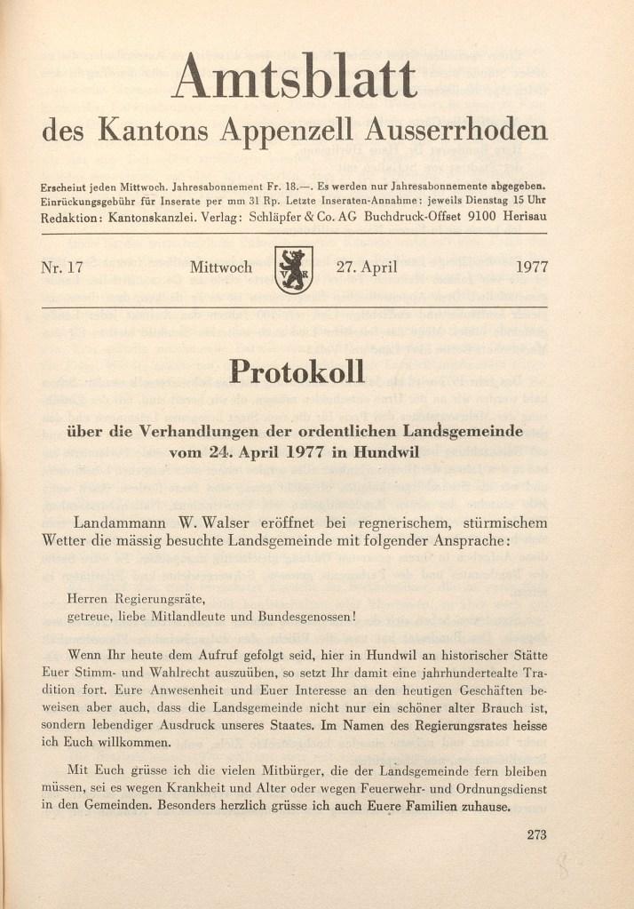 Amtsblatt Protokoll, Landsgemeinde 1977