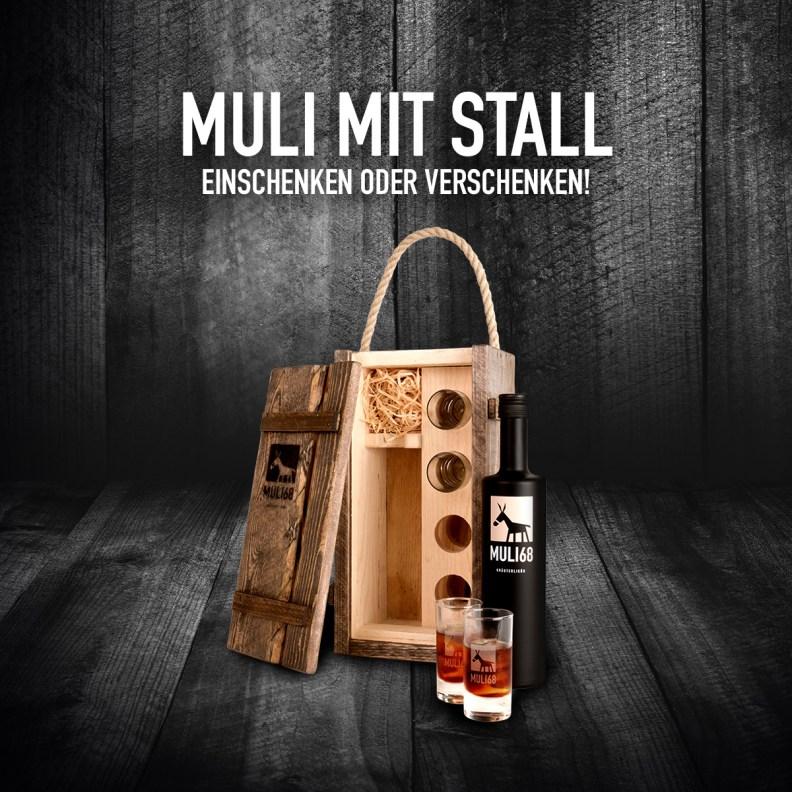 Ein cooles Gesckenk-Set: der Muli mit Stall! © Muli 68 Getränke GmbH