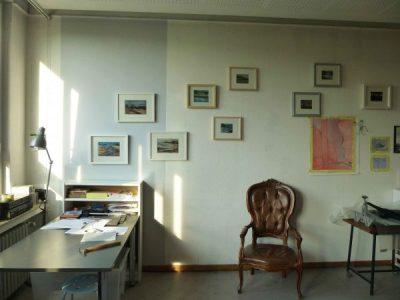 Atelierwand mit Schottland Pastellen