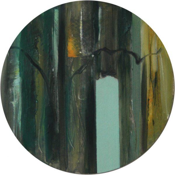 Guckloch 1, Öl auf Malplatte 20 cm Durchmesser