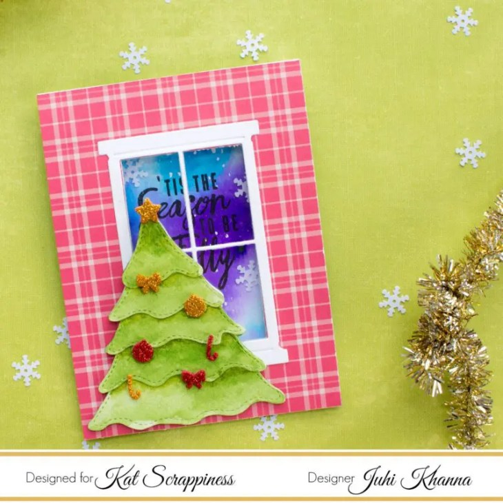 Card using Kat Scrappiness Stitched & Layered Christmas Tree Die