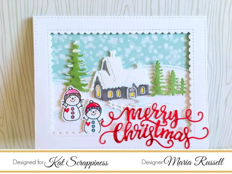 Winter Scene Christmas Card | Kat Scrappiness Blog