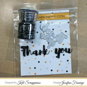 Kat Scrappiness Thank You Heat Embossed with Nuvo Embossing Powder