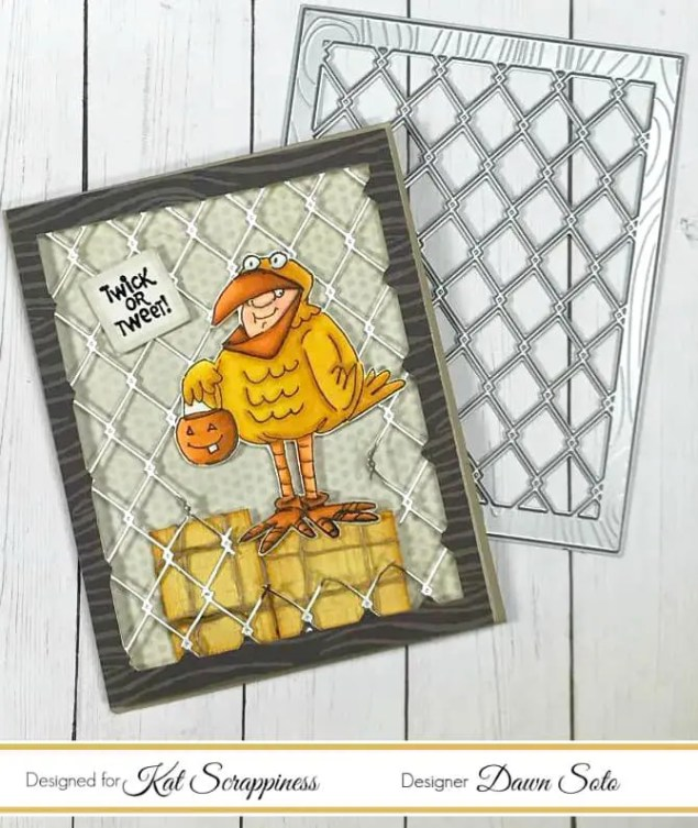 Kat Scrappiness Woodgrain Framed Diamond Wire Die Card Project