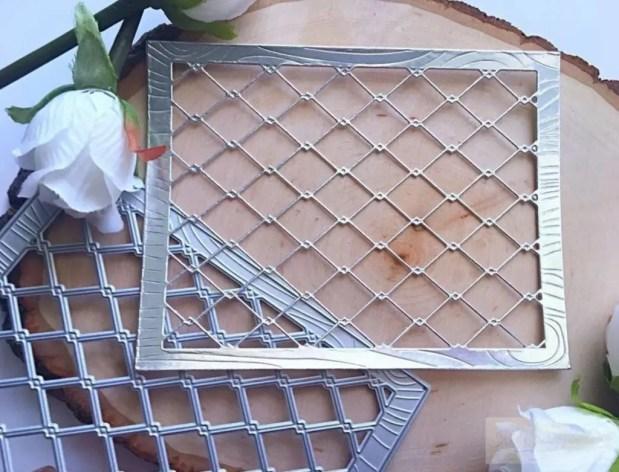 Kat Scrappiness Woodgrain Framed Diamond Wire Die